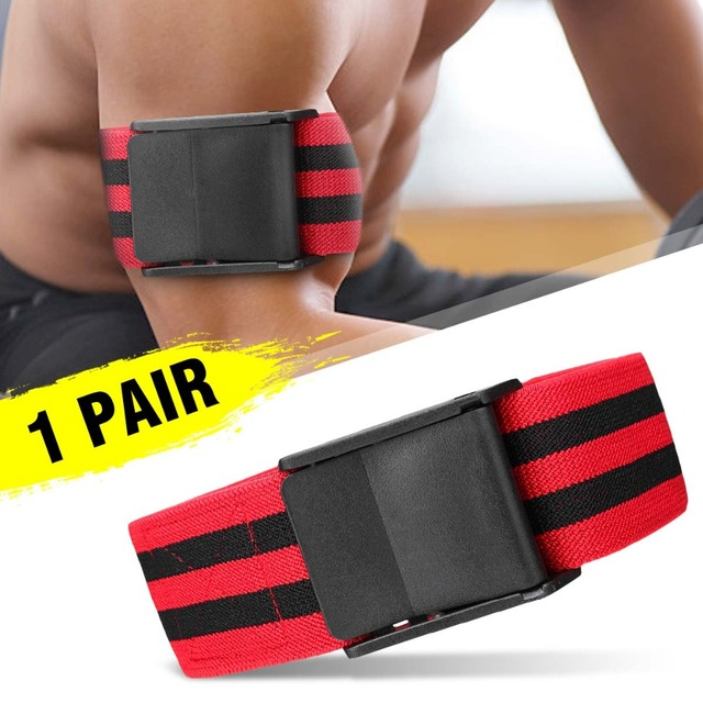 SGODDE 1 Pair Red Fitness Gym Blood Flow Restriction Occlusion BFR Tourniquet