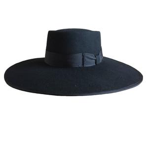Image 3 - 黒ウール豚肉パイフェルト Fedora/Porkpie Exra 大型ワイドつばフロッピー帽子 12 センチメートル