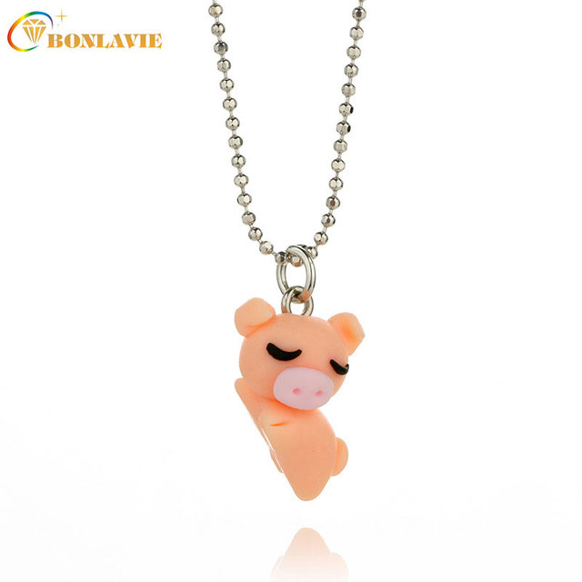 New creative cute orange pig pendant necklace for women clay cartoon new creative cute orange pig pendant necklace for women clay cartoon lazy pig chains 3d animal mozeypictures Gallery