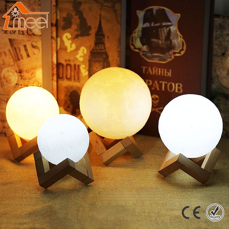 Rechargeable 3D Print Moon Light 2 Color Changeable Moon Lamp Touch Switch Moonlight Night Light Home Decor Creative Gift