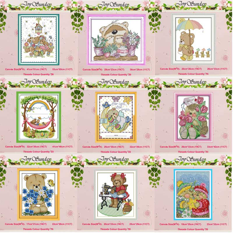 The Little Bear painting counted Cross Stitch 11CT 14CT Set Wholesale DIY Cross-stitch Kit Embroidery Needlework