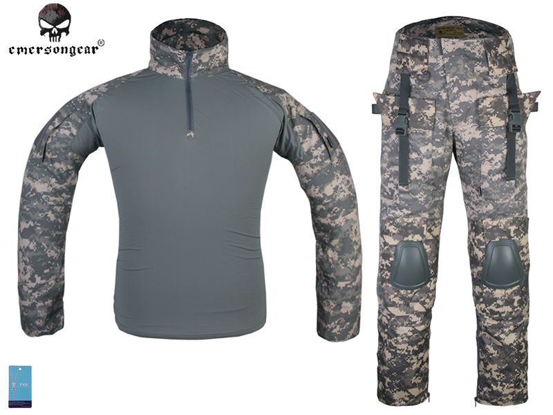 Emersongear Tactical Combat Uniform Frog Suit Emerson Military Shirt & Pants With Knee Pads Elbow Pads EM2727 ACU military uniform multicam army combat shirt uniform tactical pants with knee pads camouflage suit hunting clothes