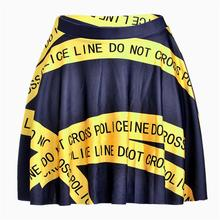 Yellow Warning Line Women Sexy Pleated Skirts Tennis Bowling Bust Shorts Skirts Digital Print Female Fitness Apparel A Style