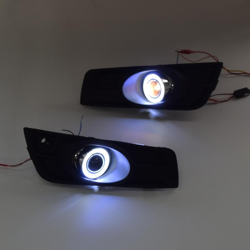 Fog font b Lamp b font Assembly LED Day Light COB Angel Eyes Foglight Daytime Running