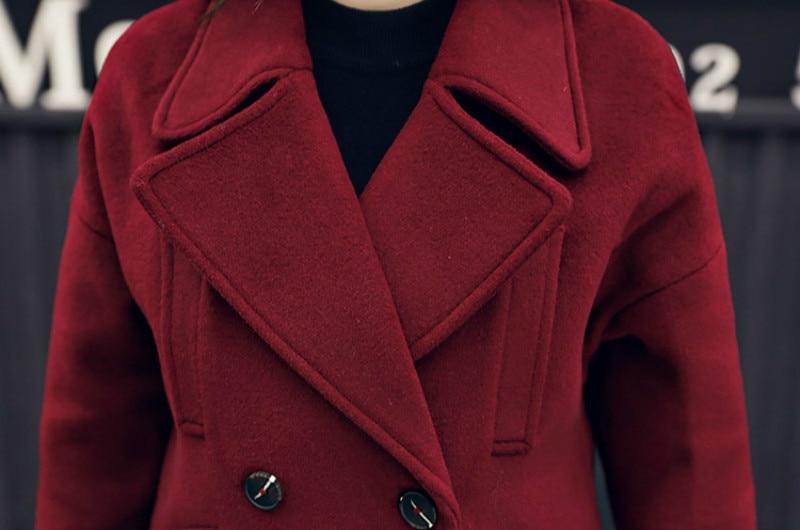 2018 Manteau D'hiver Abrigos Nouvelle Femmes De Mujer Longue Abrigo Gris Taille Automne Invierno Section bourgogne Femelle Et Laine Grande Minceur wB1XA1xq