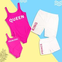 Queen KING Family Swimsuit Matching Outfits Summer Bikini Set Mother Daughter Swimwear Father Son Beach Shorts