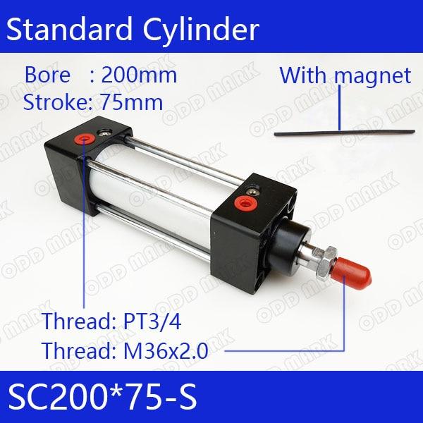 SC200*75-S 200mm Bore 75mm Stroke SC200X75-S SC Series Single Rod Standard Pneumatic Air Cylinder SC200-75-S цена