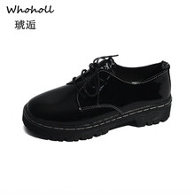 Whoholl Brand Patent Leather Shoes for Ladies Women Low Boots Working Army Boot Zapatos Ankle Outdoor Big Size 35-40