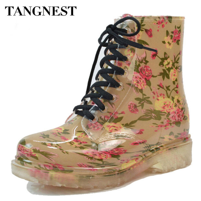 Tangnest 2018 Women's Rain Boots Spring  Round Toe Rubber Shoes Floral Leopard Lace-Up Ankle Boots Woman Big Size 36-40 XWX2327