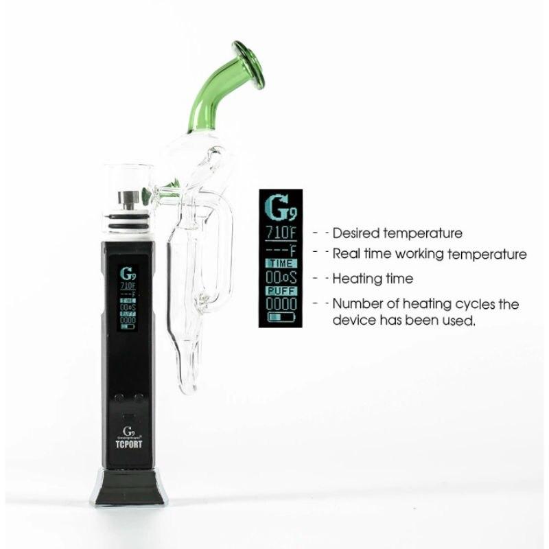 Greenlightvapes G9 TC Port Enail Vaporisateur Stylo Cire Vaporisateur Fumée Dab avec Contrôle de La Température En Verre Plate-Forme e cig D'eau Dabber tuyau