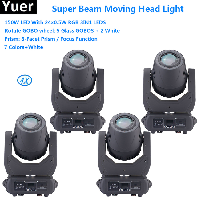 4Pcs/Lot Professional LED Bar Party DJ Disco Stage Lighting Equipments 150W High Output White LED Moving Head Beam Laser Lights
