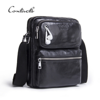 CONTACT S Genuine Leather Men Bag Male Shoulder Crossbody Bags Messenger Small Flap Casual Handbags Commercial