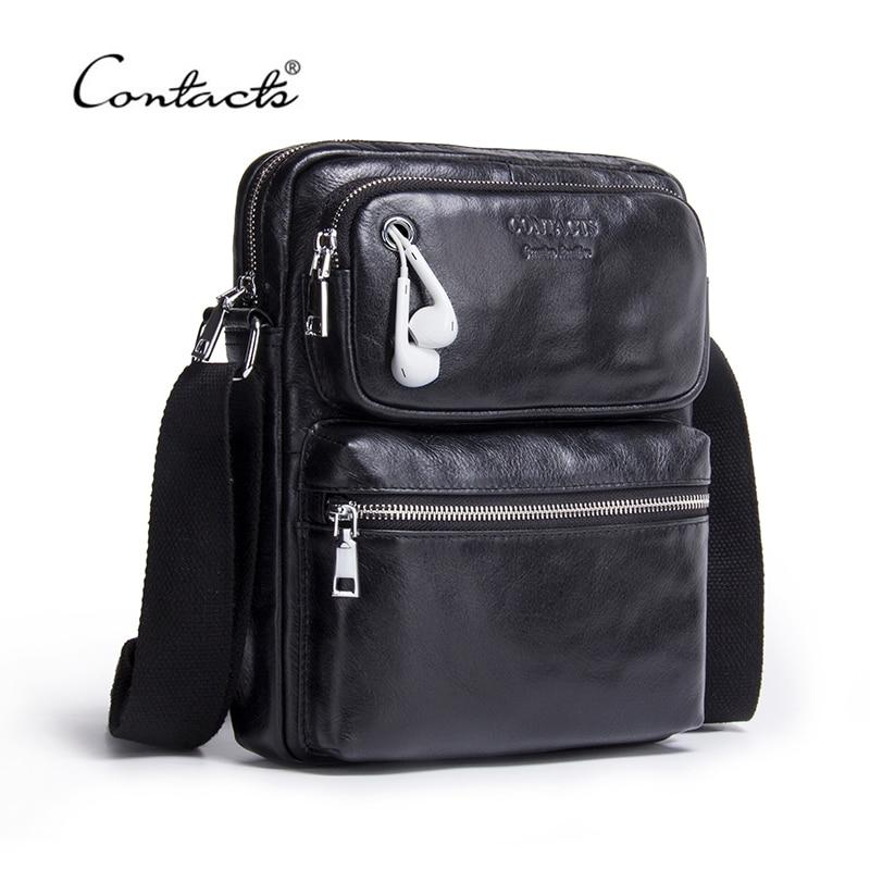 CONTACT'S Genuine Leather Men Bag Male Shoulder Bag Small Men's Crossbody Bags Fashion Man Casual Black Messenger Bags Bolsas