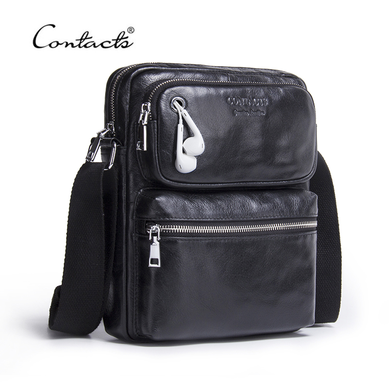 CONTACT'S Genuine Leather Men Bag Male Shoulder Bag Small Men's Crossbody Bags Fashion Man Casual Black Messenger Bags Bolsas