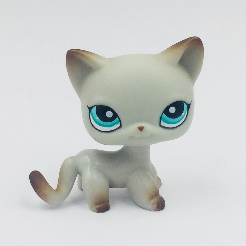 original pet shop lps toys standing old short hair cat #391 real rare Egyptian Grey Blue Eyes Animal kids collectible gifts pet shop toys dachshund 932 bronw sausage dog star pink eyes