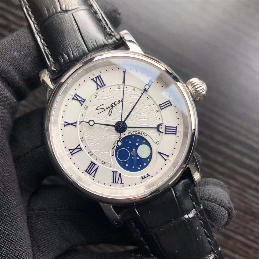 Retro Automatic Mechanical Men's Watch Moon Phase Luminous Multi-function Seagull Watch ST2108 Movement Mechanical Watches Men(China)