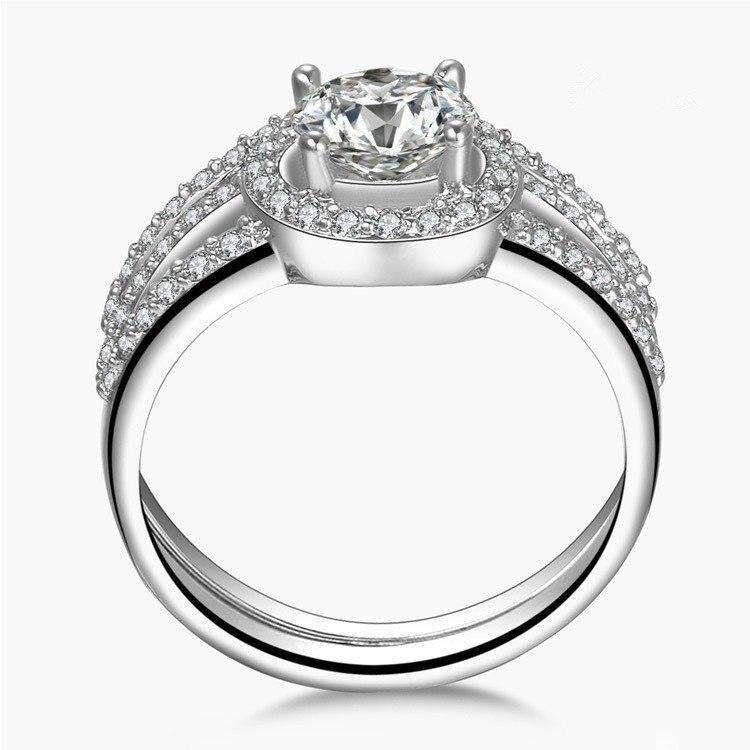 THREEMAN Solid 14KT белое золото 2 карат, круглая огранка взаимодействие синтетических алмазов кольца набор полоса белые позолоченные украшения кольцо набор AU585