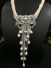Natural fresh water pearl pendant necklace with silver jewelry lock china pattern cubic zircon tassels wedding