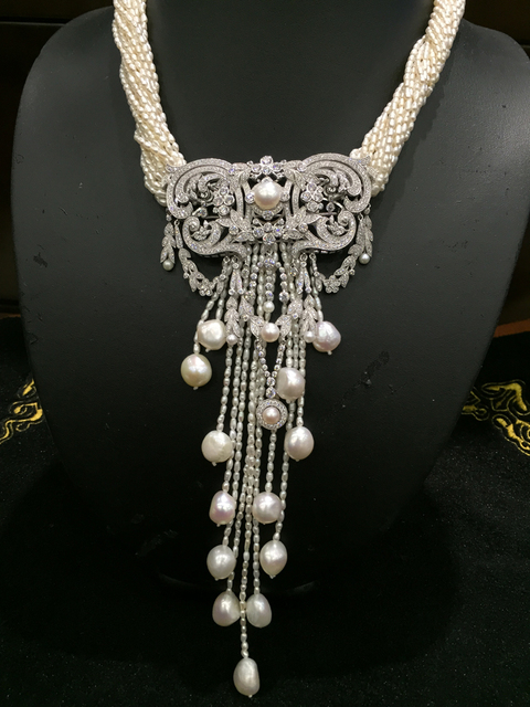 Natural fresh water pearl pendant necklace with  silver jewelry lock china pattern cubic zircon tassels wedding party  necklace
