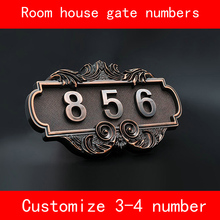 Room Gate House number Electroplated antiqued ABS Custom-made 3 to 4 Numbers Customized Hotel Door Plate Hotel custom made halo lit address numbers