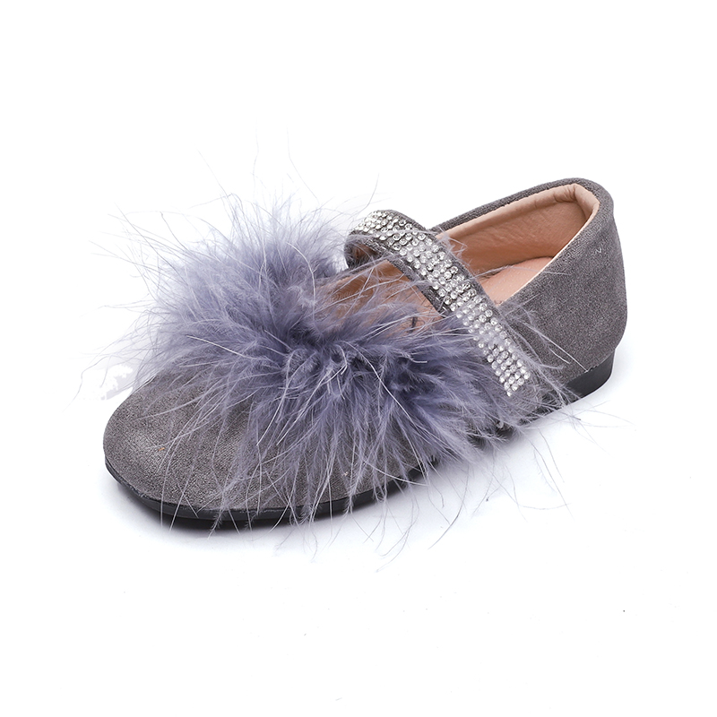 JGSHOWKITO Autumn Winter Fashion Girls Shoes With Real Fur Ostrich Feather  Hair Soft Princess Toddler Big Kids Flats Rhinestone f44d166e6de7