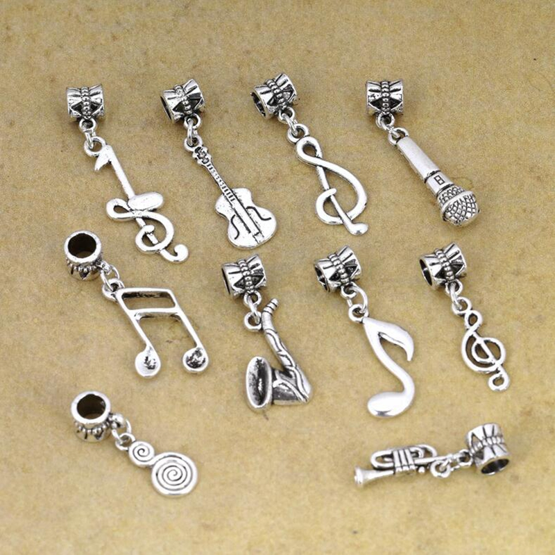 New Fashion Jewelry 120pcs Ancient Silver Musical Notation Symbols
