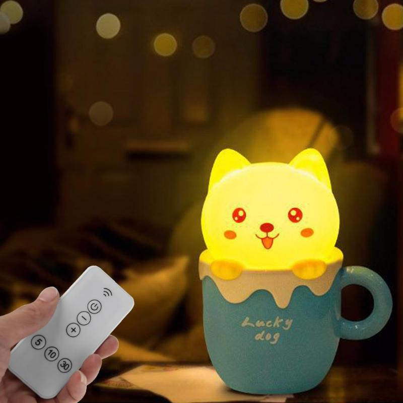 Dimmable Led Night Light Lamp USB Remote Puppy Cartoon for Baby Children Kids Gift Bedside Bedroom Living Room Decoration