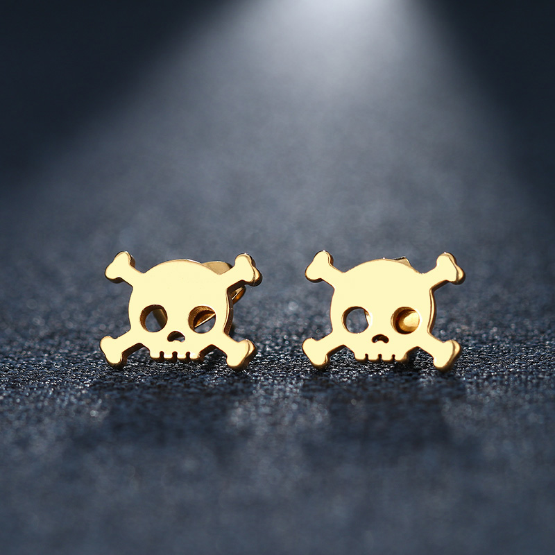 CACANA Stainless Steel Stud Earring For Women Man Skull Gold And Silver Color Lovers Engagement Jewelry Drop Shipping