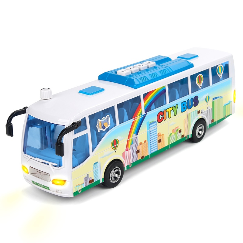 City Bus Model Electronic Simulation Plastic Baby Toys Kids Diecast Vehicle Car Light Sounds Educational Toy for Children