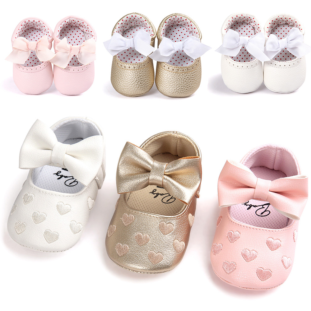 Sneaker Shoes Soft-Sole Toddler Baby-Girl Leater ROMIRUS Anti-Slip Bow Cute And Bowknot