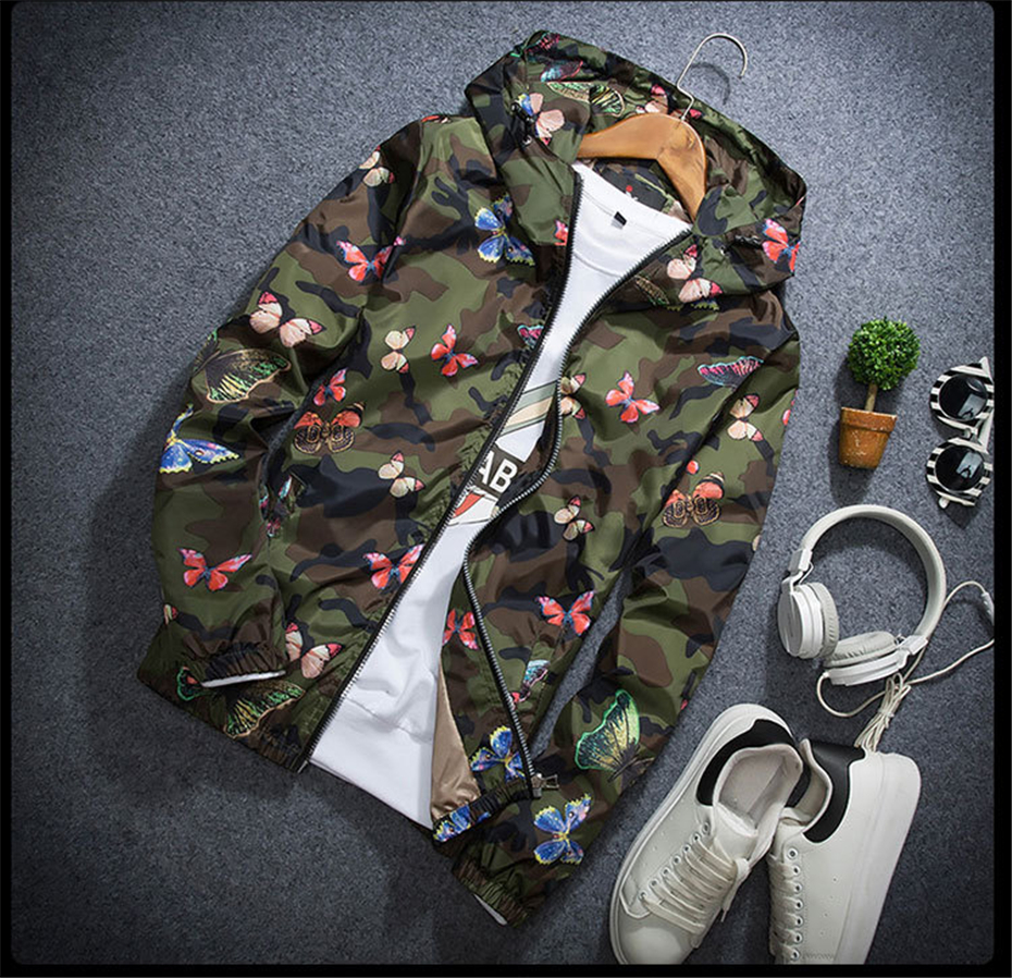 HTB1YhJPKrGYBuNjy0Foq6AiBFXas Mens Casual Camouflage Hoodie Jacket 2018 New Autumn Butterfly Print Clothes Men's Hooded Windbreaker Coat Male Outwear WS505