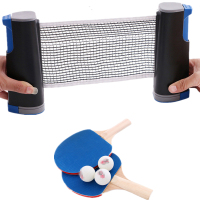 Retractable Table Tennis Net Portable Net Kit Tennis Balls Ping Pong Ball Racquet Strong Mesh Net Outdoor Indoor Racquet Sports