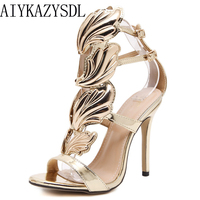 AIYKAZYSDL Sexy Women High heel Gold leaves Cut Out Gladiator Sandals Stiletto Wings Metal shoes Woman Pumps chaussure femme