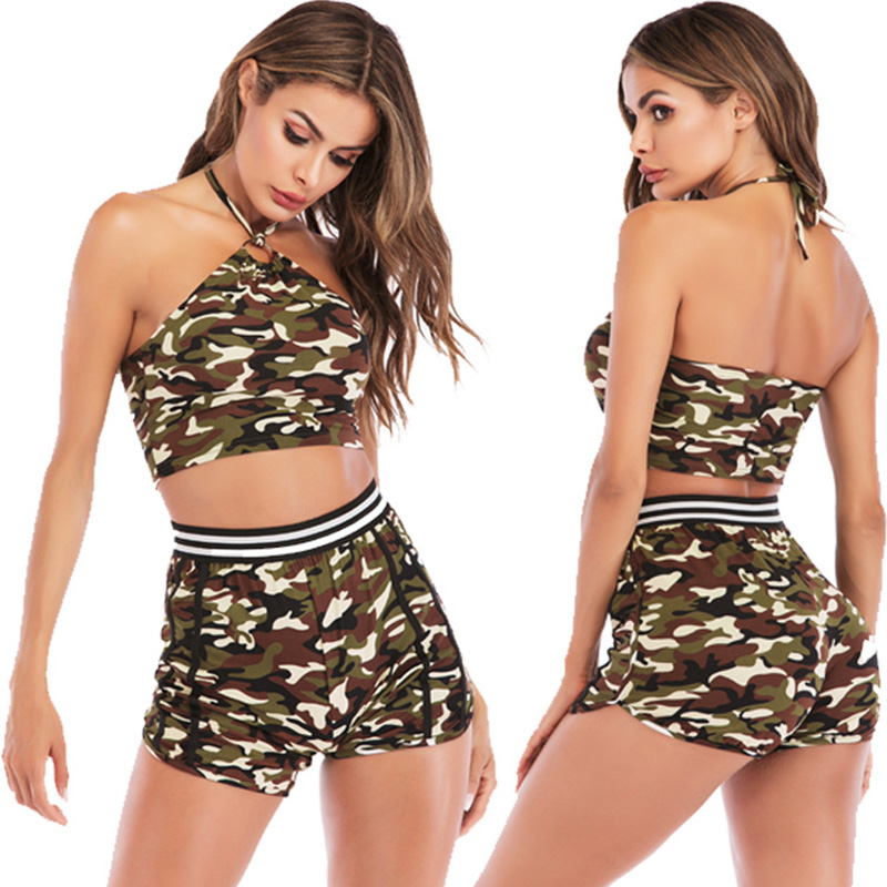 High Waist Yoga Sets 2pcs Sexy Clothes for Women Camouflage Print Sportswear for Women Sports Bra Fitness Clothing Active Wear