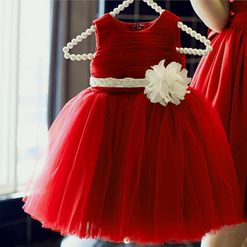 Girls Birthday Frocks Princess Wedding Party Red Dress Vestidos Fever tulle dresses reine des neiges For 2 4 6 8 10 12 14 Years