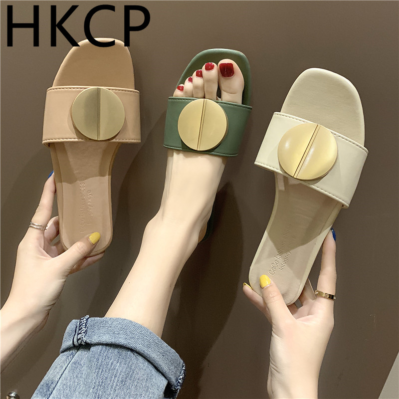 HKCP Fashion Korean womens slippers 2019 summer new flat female fashion wear C226