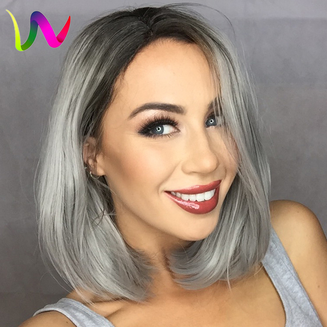Grey Synthetic Lace Front Wig Glueless Lace Wigs Ombre Blacksilver