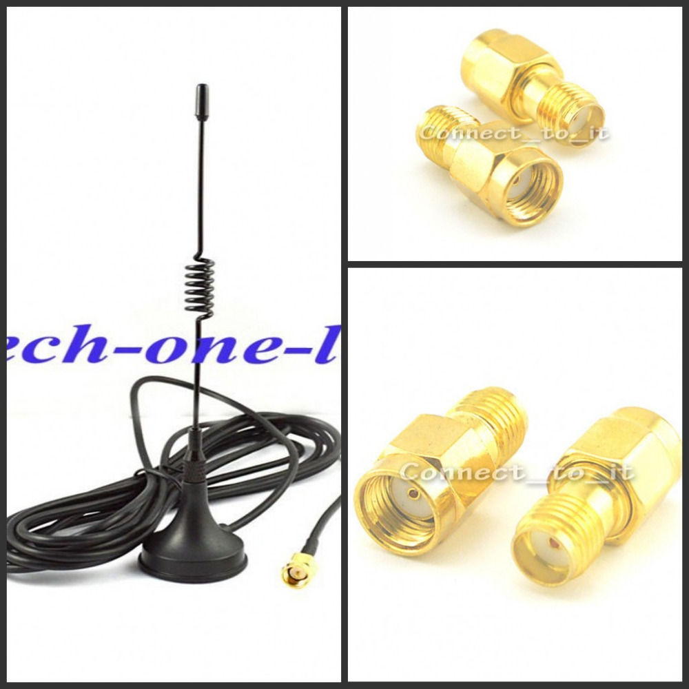 GSM Antenna 433Mhz 5dbi SMA Plug Connector Straight +  RP SMA Male Plug To SMA Female Jack RF Connector Adapter
