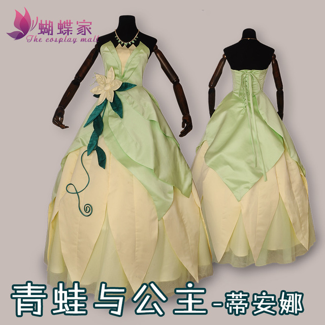 2017 New Arrival Customized Famous Movie The Princess and the Frog Princess Tiana long dress cosplay costume