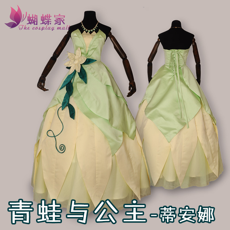 2017 New Arrival Customized Famous Movie The Princess and the Frog Princess Tiana long sexy dress cospaly costume