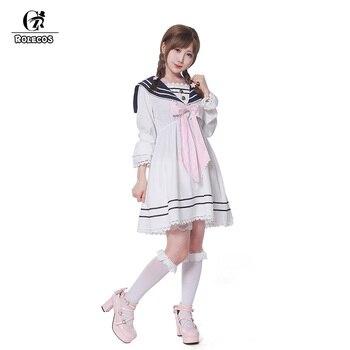 ROLECOS Fashion and Lovely Bowknot Design Sailor Uniform Comfort Slim-cut Women Lolita Dress Chiffon School Uniform Costumes 1