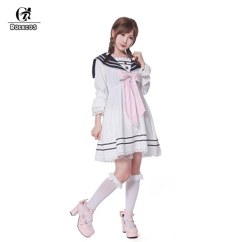 ROLECOS Fashion and Lovely Bowknot Design Sailor Uniform Comfort Slim-cut Women Lolita Dress Chiffon School Uniform Costumes