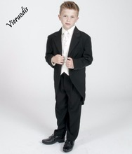 Boys 3 pcs suits Tailcoat Morning Suit Black Cream Wedding Christening Pageboy formal