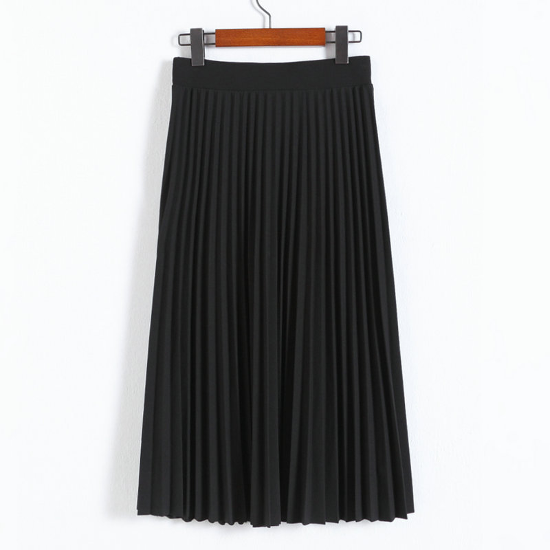 A-Line Pink Gray Black Pleated Skirt 12