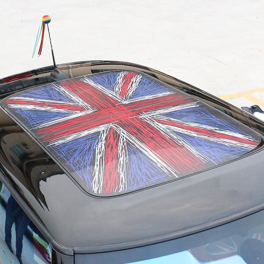 Fashion Union Jack Flag Car Roof Sticker Semitransparent Sunroof Wrap Film Vinyl for MINI Cooper JCW F54 F55 F56 F60 Car Styling 2pcs set union jack rear trunk door handle covers decoration sticker for mini cooper jcw f54 clubman car styling accessories