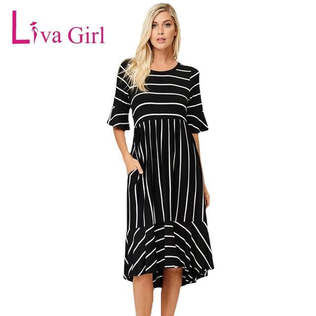 Liva Girl Autumn Black White Striped Half Bell Sleeve Hi-low Midi Dress  Women Casual Wear Work Business Bodycon Dresses Female 721a3aa404aa