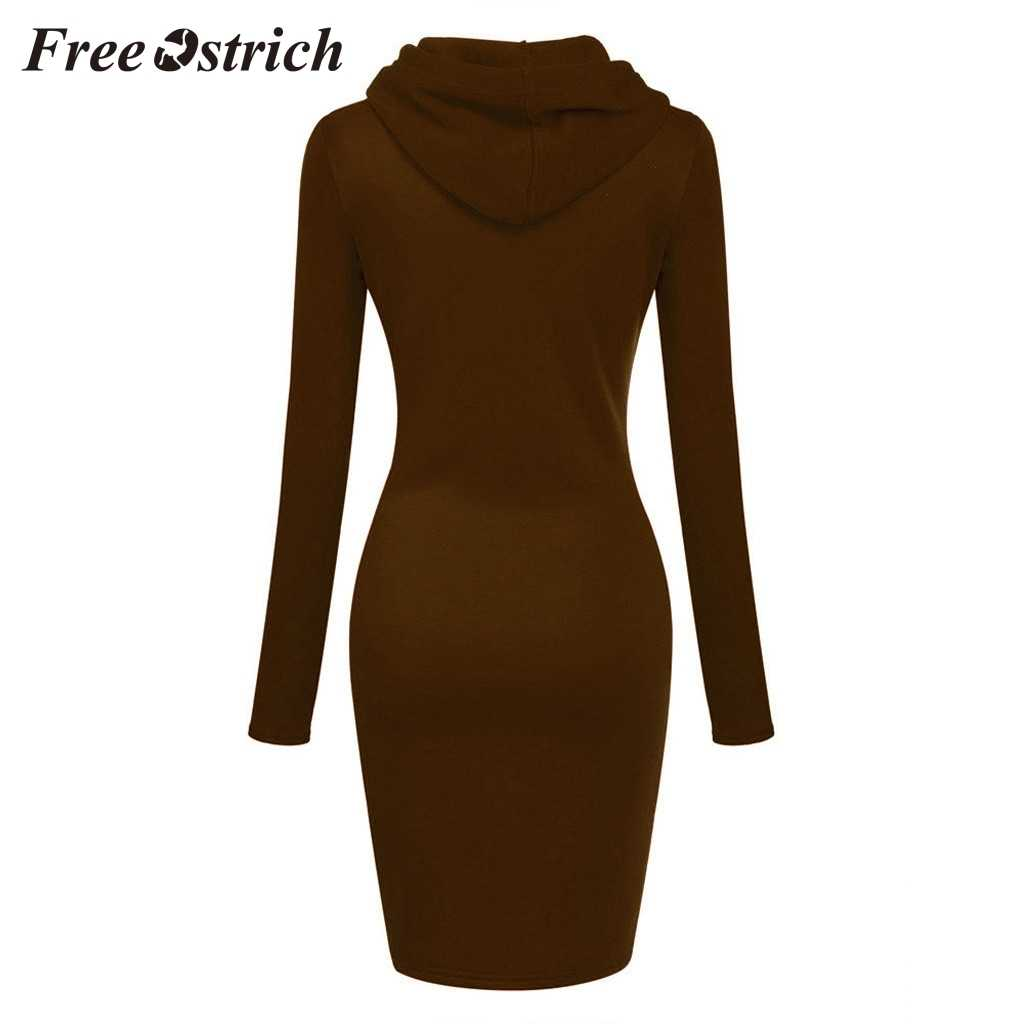 Giá Rẻ Đà Điểu 2019 Màu Hồng Trắng Chắc Chắn Thoải Mái Nữ Dài Tay Chắp Vá Ô Cổ Dài Trùm Đầu Sweatershirt Đầm