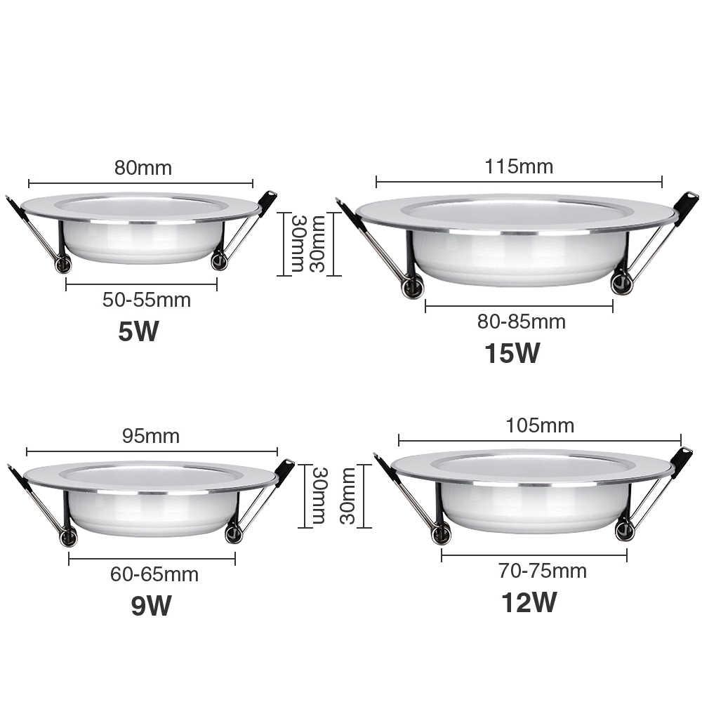 LED ダウンライト AC220V 〜 240 V 5 ワット 9 ワット 12 ワット 15 ワット Led シーリングラウンド凹型ランプ防水 led スポットライト浴室キッチン
