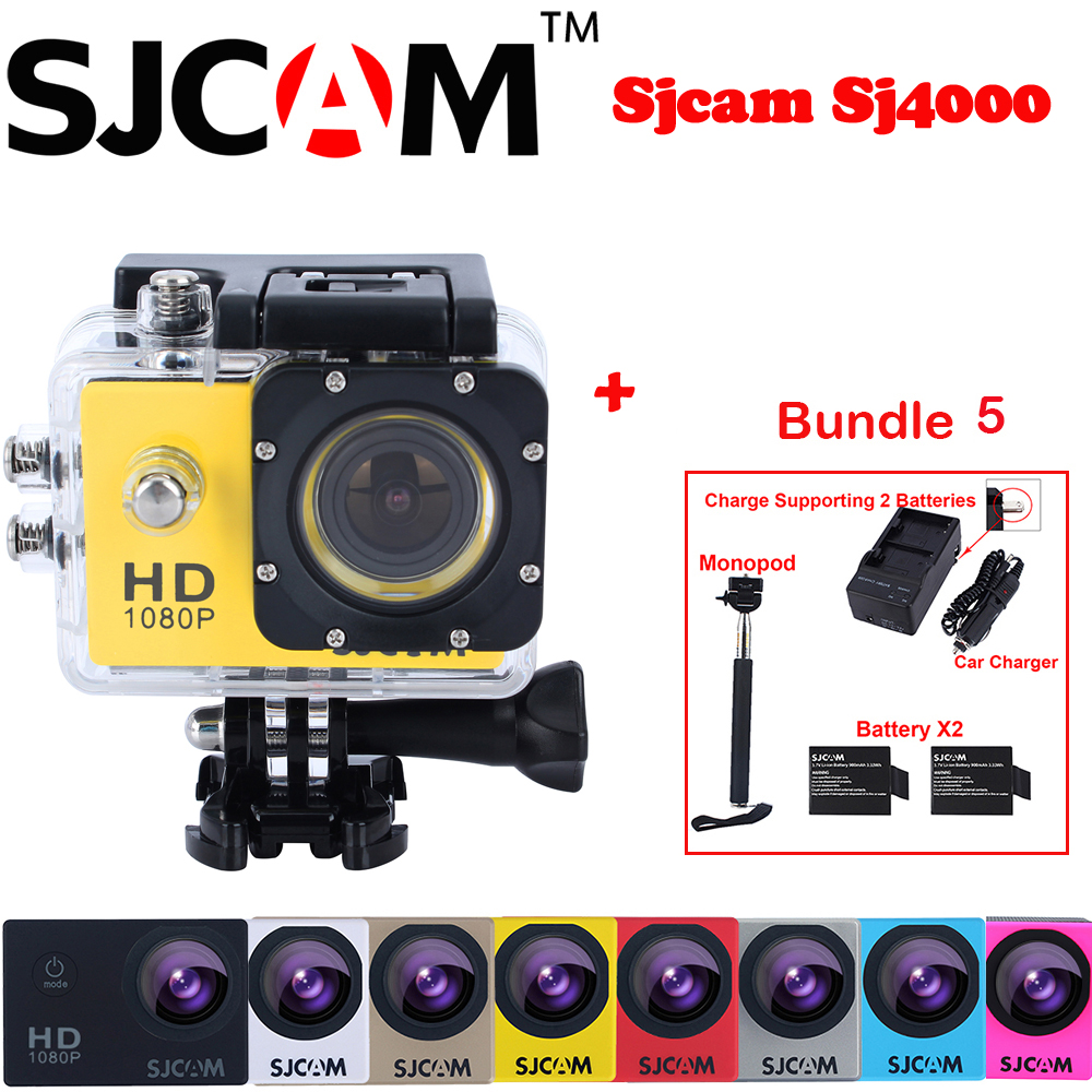 Original Sjcam SJ4000 30M Waterproof Mini Sports Action Camera Sj 4000 Cam DVR+2Battery+Dual Wall+Car Charger+Selfie Monopod original sjcam sj6 legend accessories battery selfie stick monopod wrist remote dual charger for sj cam sj6 legend action camera