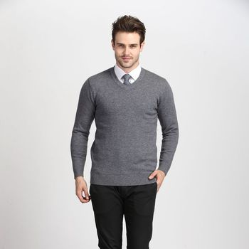 High quality 100% wool newest style fashion v-neck solid color men pullover knit sweater